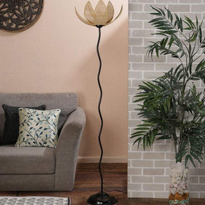 Beige Bamboo Floor Lamp - Wooden Home Decor