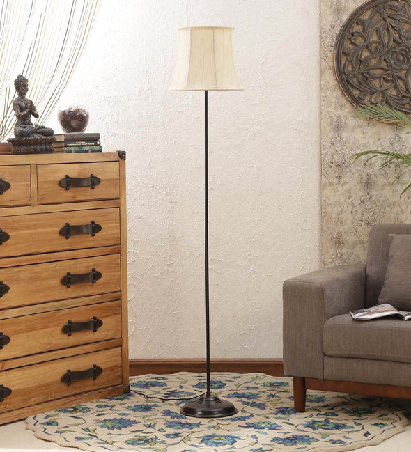Off White Cotton Floor Lamp - Wooden Home Decor