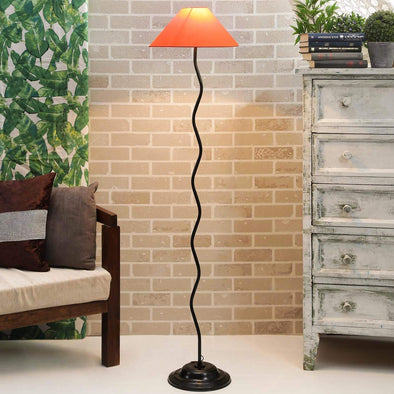 Orange Poly Cotton Floor Lamp - Wooden Home Decor