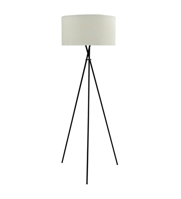 White Handloom Fabric with acrylic sheet Tripod Lamp - Wooden Home Decor