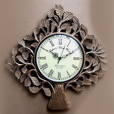 Wooden Leaf Wall Clock - Wooden Home Decor