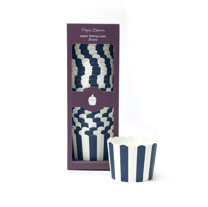 Baking Cup Blue Navy Stripes 25pc