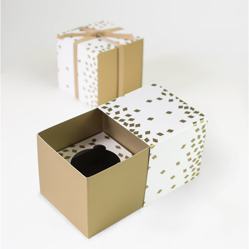 Gift Box With Free Cupcake Insert Geo Gold 6pc Shop