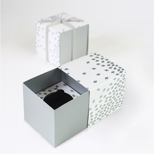 Gift Box with Free Cupcake Insert - Geo Silver 6pc