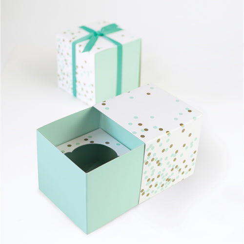 Gift Box with Free Cupcake Insert - Mint Confetti 6pc