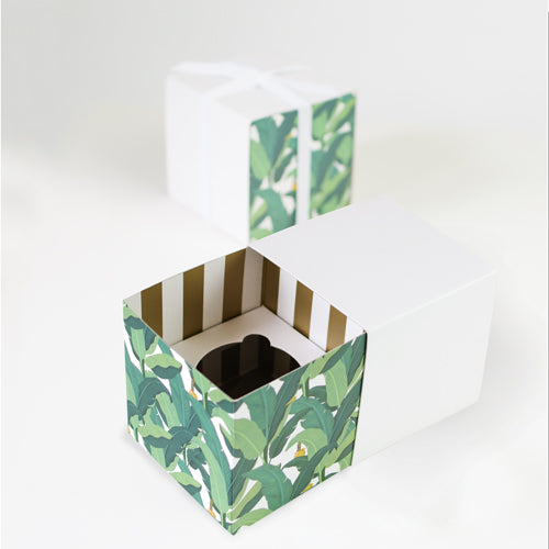GIFT BOX WITH FREE CUPCAKE INSERT - TROPPO LEAF - 6PC by Paper Eskimo