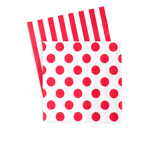 Cocktail Napkins Red Spot 20pc