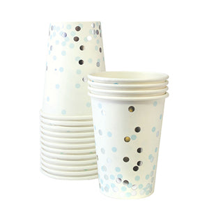 Paper Cups Blue Confetti 12pc