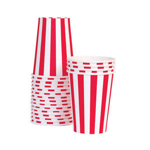 Paper Cups Candy Cane Red 12pc