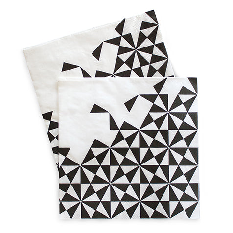 Large Napkins Black Geo 20pc