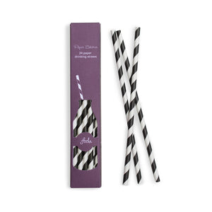 Paper Straws Black Tie 24pc