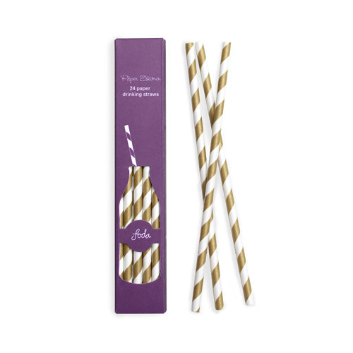 Paper Straws Gold Crush 24pc