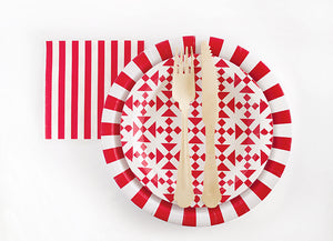 Paper Plates Candy Cane Red 12pc