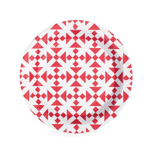 Dessert Plate Candy Cane Red 12pc