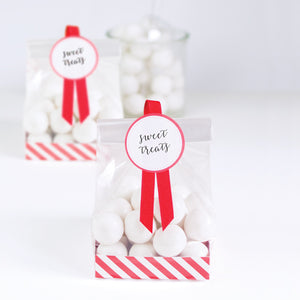 Treat Bag-Candy Cane Red12pc