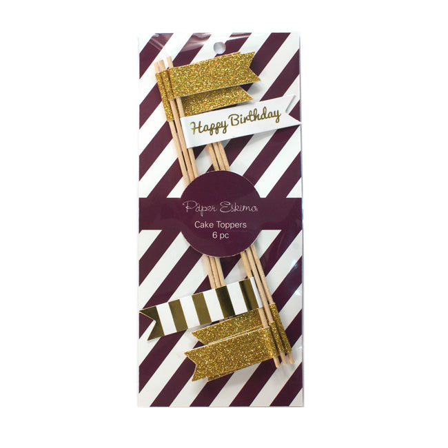 Cake Topper Flags Gold 6pc