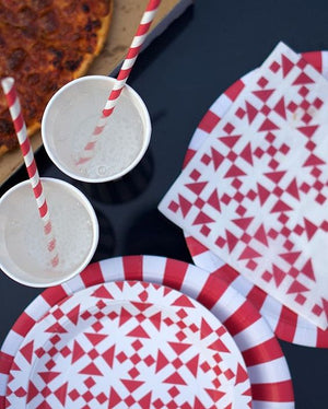 Paper Straws Candy Cane Red 24pc