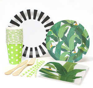 Tropical Leaf Luau party for 12 kit