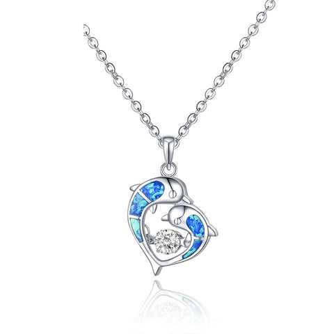 Natural Blue Topaz with Cubic Zircon Dolphin Necklace