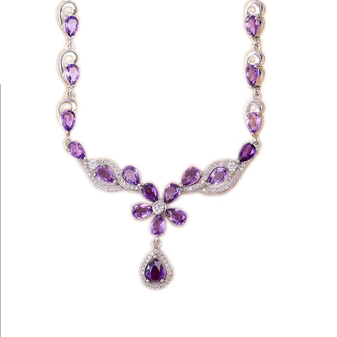 Amethyst Necklace with Flower Design