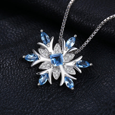 Snowflake Genuine Blue Topaz Pendant (Without Chain)