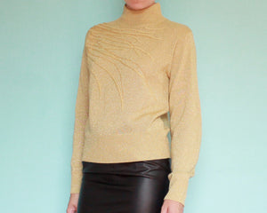 Gold metallic lightweight sweater with beading and embroidery women's small