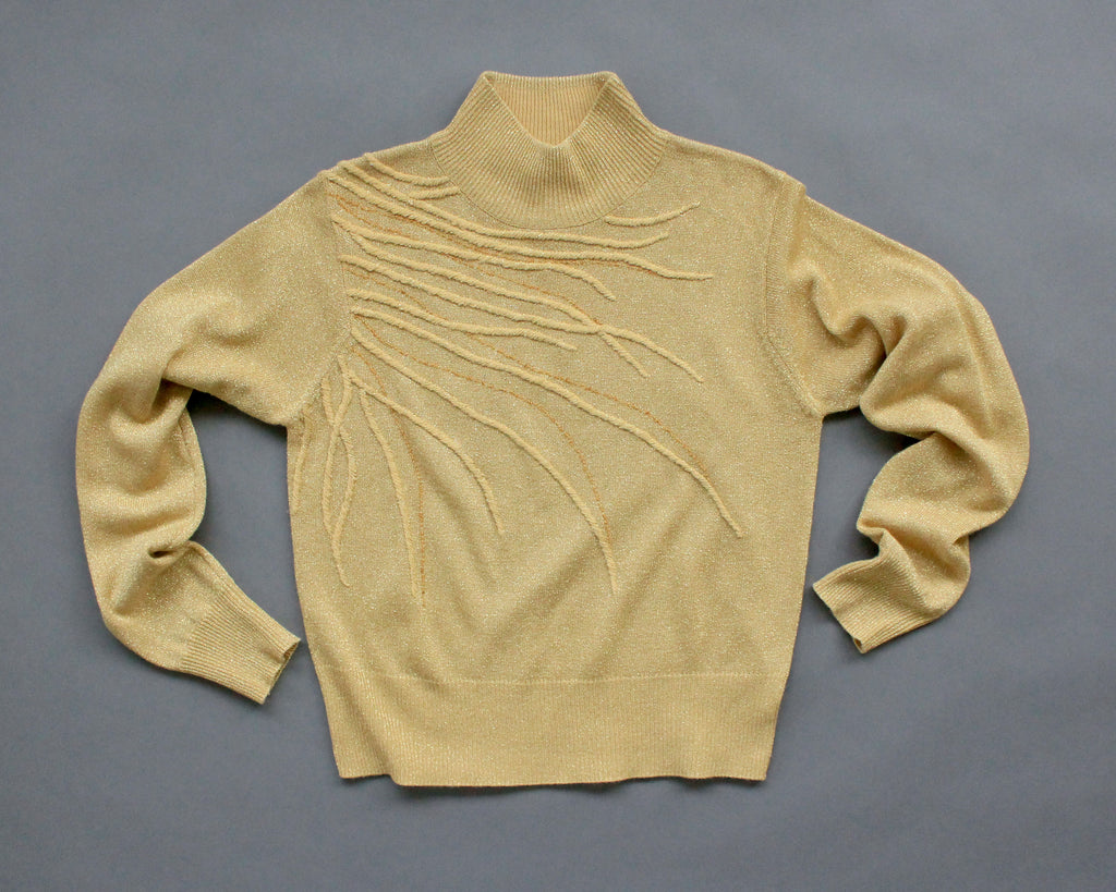 Gold metallic lightweight sweater with beading and embroidery women's smal