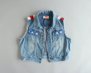 American flag denim vest by L.E.I. junior's size large