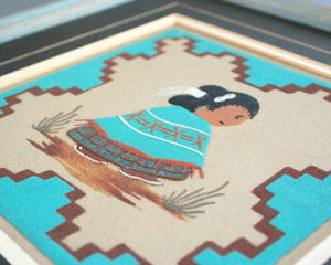 Turquoise sand paintings by navajo artist Roseann Yazzie