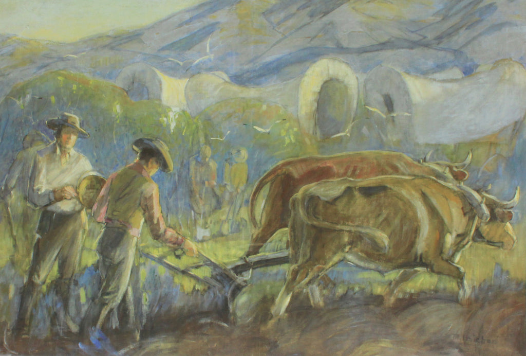 First plowing pastoral painting by Minerva Teichert prints for sale at High Desert Dry Goods