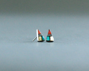 zuni inlay post earrings turquoise coral