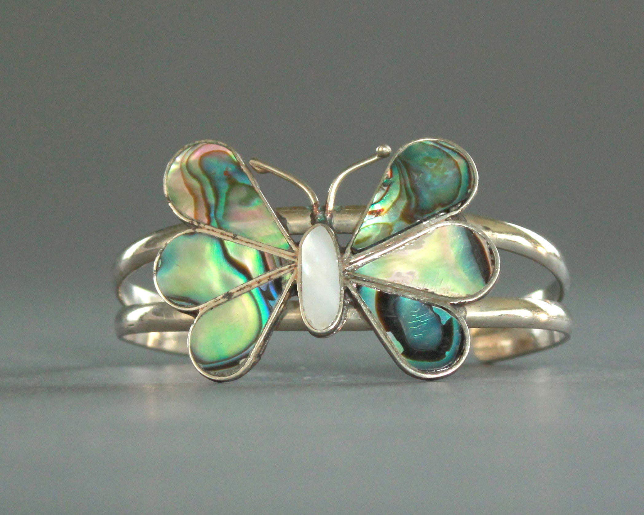 Abalone butterfly bracelet handmade in Mexico