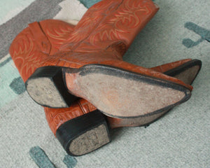 vintage orange alligator cowboy boots mens size 8