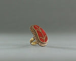 vintage brass statement ring with red stone