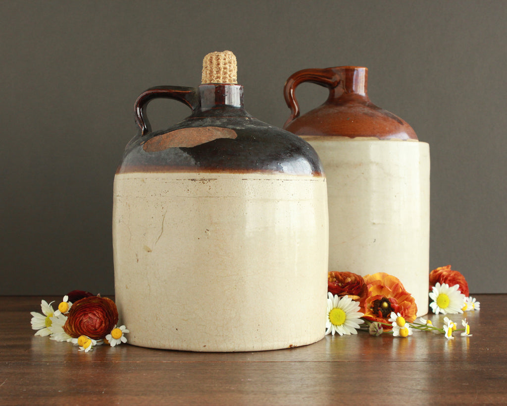 antique brown and white ceramic jug