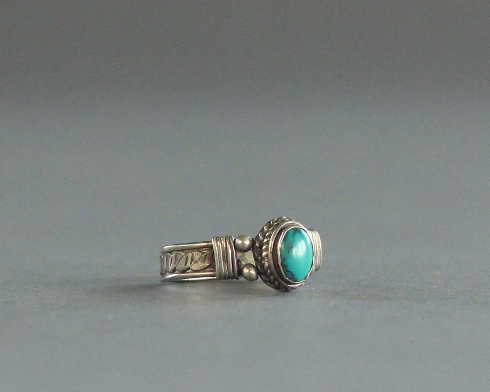 boho sterling silver and turquoise handmade ring size 7