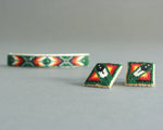 native american beaded barrette and earrings set