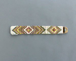 Southwest chevron print beaded bracelet