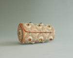 Elegant beaded evening clutch in gold and peach