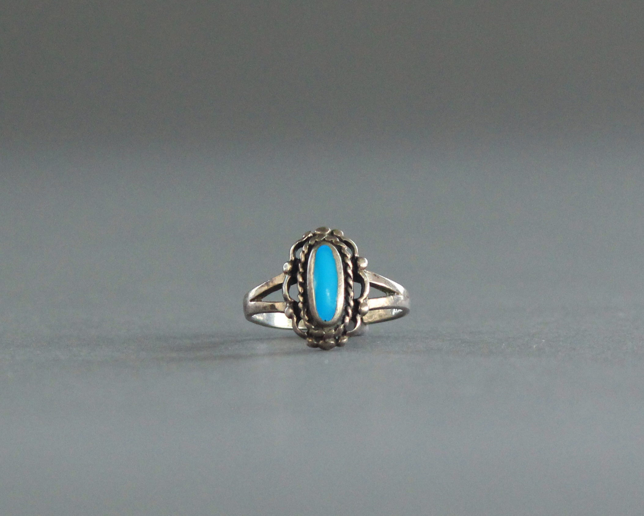sterling silver oval turquoise ring size 7