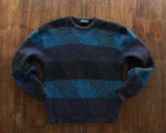 Black and blue wool pullover sweater mens medium