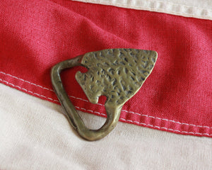 solid brass arrowhead shaped bottle opener belt buckle