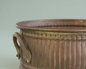 Vintage bronze planter or accent dish with handles 6 in diameter