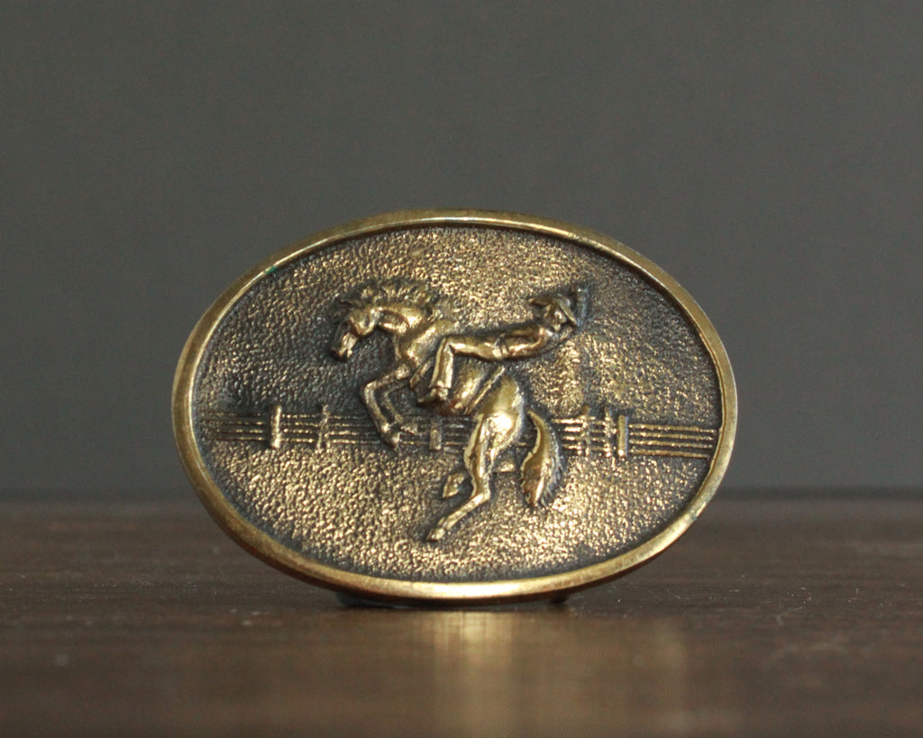 vintage bucking horse cowboy belt buckle brass