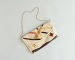 Retro 1970's envelope purse with snakeskin patches and gold chain