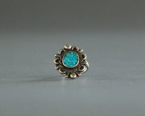 small chip inlay turquoise ring