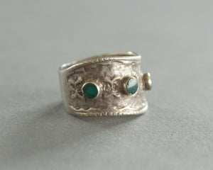 malachite and sterling silver wave ring