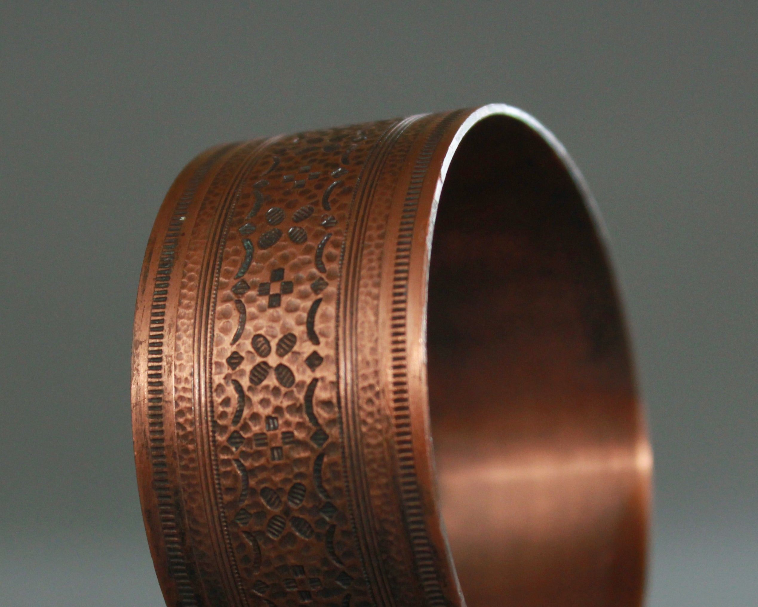 Textured solid copper bracelet