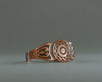 Vintage copper cuff with geometric overlay design