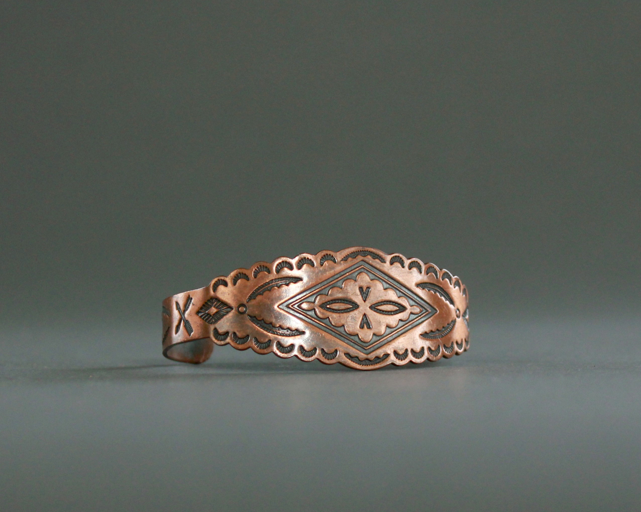 Solid copper bracelet with Southwest stamping